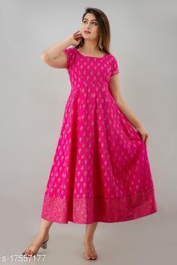 Svarchi Womens Cotton Paisley Print Anarkali Dress (Pink)