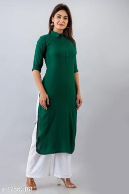 Svarchi Womens Rayon Blend Solid Straight Kurta (Green)