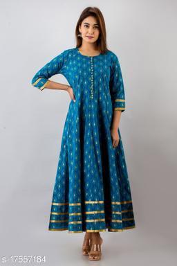 Svarchi Womens Cotton Buti Print Anarkali Kurta (Teal Blue)