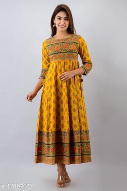 Women Cotton Anarkali Printed Mustard Kurti