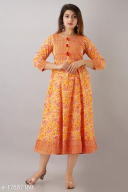 Women Cotton Anarkali Printed Orange Kurti