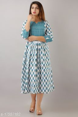 Svarchi Womens Cotton Buti Print Anarkali Dress (White)