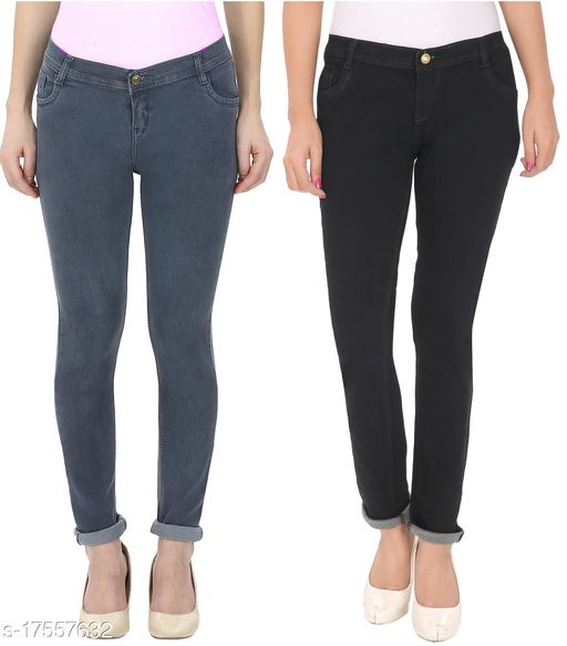 (Pack of 2 ) Women, Silky Denim, 5-pocket mid-rise Skinny jeans, clean look with no fade, has a button and zip closure, waistband with belt loops