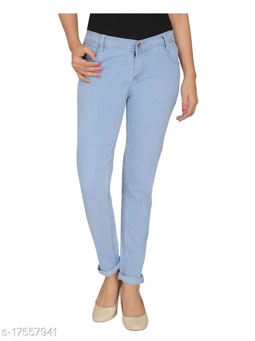 Women, Silky Denim, 5-pocket mid-rise Skinny jeans, clean look with no fade, has a button and zip closure, waistband with belt loops