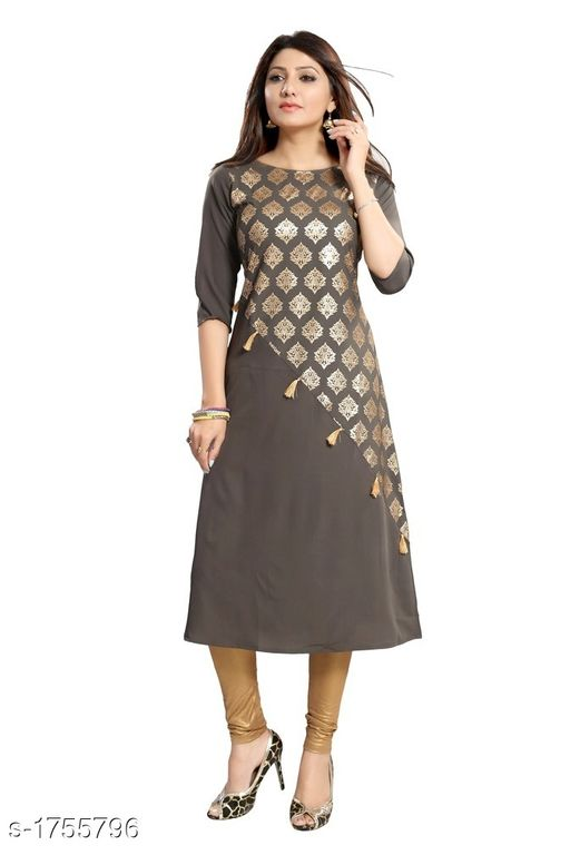 Kurtis & Kurtas Designer Crepe Women's Kurti  *Fabric* Crepe  *Sleeves* Sleeves are Included  *Size* M - 38 in, L - 40 in, XL - 42 in, XXL - 44 in  *Length* Up To 46 in  *Type* Stitched  *Description* It Has 1 Piece Of Women's Kurti  *Work * Gold Print  *Sizes Available* XL   Catalog Rating: ★4.2 (121) Supplier Rating: ★3.9 (31469) SKU: C150 Crepe Kurti 4015 Free shipping is available for this item. Pkt. Weight Range: 300  Catalog Name: Adiva Designer Crepe Women's Kurtis Vol 1 - BD 24x7 Code: 574-1755796--894