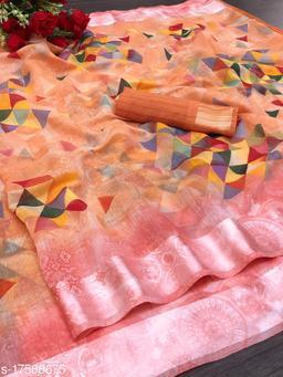 Present by Saswat creation Summer and wedding wear collection Digital printed linen saree