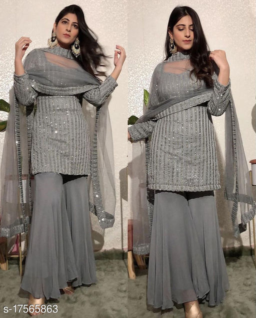 Krishna Tex Grey Fox Georgette with sequence Work Sharara Suit