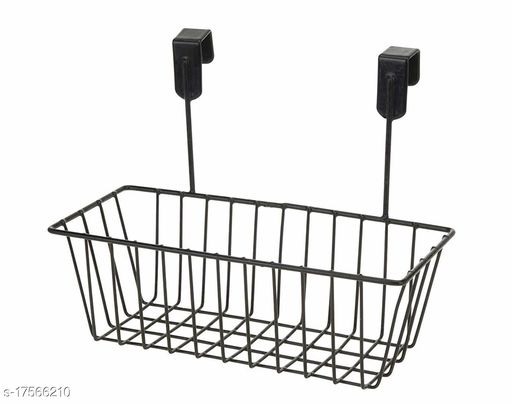 Tradevast Hanging Door Metal Basket Wire Rack for Extra Cabinet Storage for Kitchen, Bathroom & Refrigerator Organizer - Set of 1 (Black)