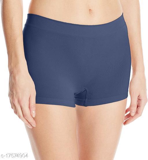 Women Boy Shorts Blue Cotton Panty