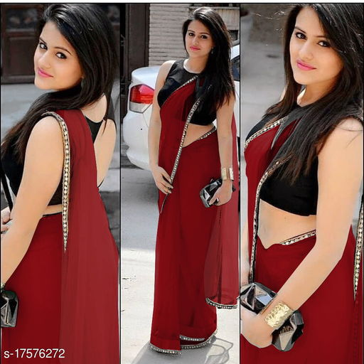Latest Beautiful Net Saree with Sequence Lace Border