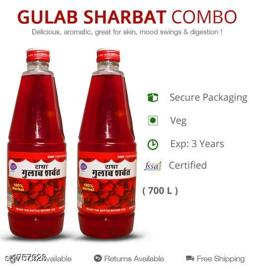 Sharbats and Thandais Gulab sharbat , 700ml, Pack of 2  ROSE PETALS HAVE AN UPLIFTING, COOLING AND RESTORING EFFECT. IT IS KNOWN TO REDUCE STRESS AND ANXIETY. ROSE SHARBAT HAS BEEN A STAPLE IN INDIAN HOUSEHOLDS. IT IS SUMMERS NOW AND IT IS IMPORTANT TO KEEP YOUR BODY TEMPERATURE IN CHECK TO STAY HEALTHY AND HENCE ACHAL GULAB SHARBAT IS THE BEST OPINION.  *Sizes Available* Free Size *    Catalog Name: Sharbat and Ras CatalogID_230518 C94-SC1366 Code: 204-1757928-