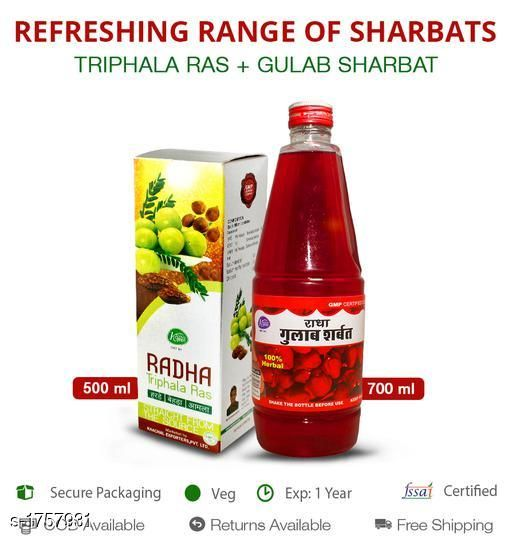 Sharbats and Thandais Combo of Gulab sharbat 700ml and Triphala ras 500ml  Combo of Gulab sharbat 700ml and Triphala ras at an offer price and with mesmerizing taste  *Sizes Available* Free Size *    Catalog Name: Sharbat and Ras CatalogID_230518 C94-SC1366 Code: 314-1757931-