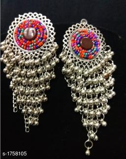 Elegant Oxidized Silver Jali Earring