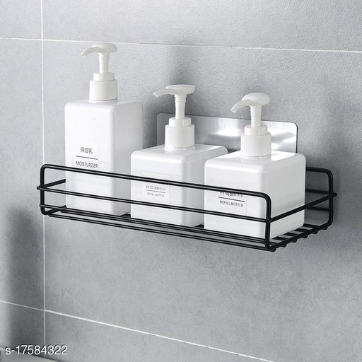 The Flying kart Pack of 1 Metal Storage Shelf for Bathroom / Kitchen Wall shelves with Magic Sticker ( No Drilling ) Black Color