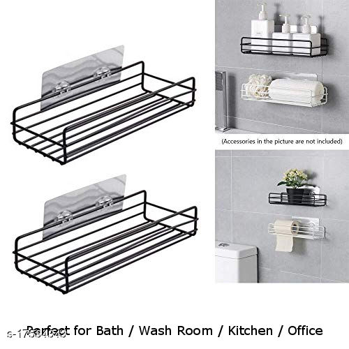 The Flying Kart Pack of 2 Metal Storage wall shelf for Bathroom / Kitchen Wall shelves with Magic Sticker ( No Drilling ) Black Color