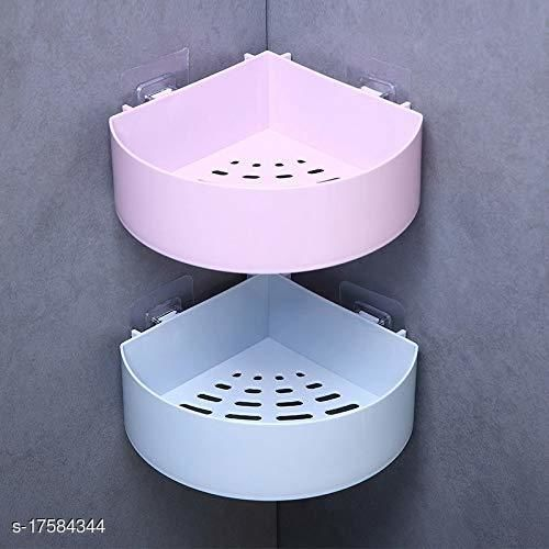 The Flying Kart Pack fo 2 Multipurpose Bath Shelves with Magic Sticker ( No Drilling ) Multicolor