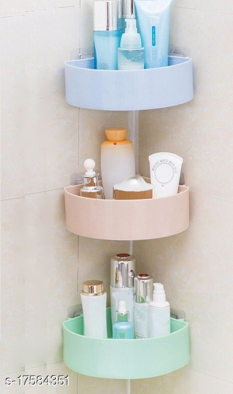 The Flying Kart Pack of 3 Wall Mount Multipurpose Bath Shelves Wall Shelves with Magic Sticker ( No Drilling ) Multicolor