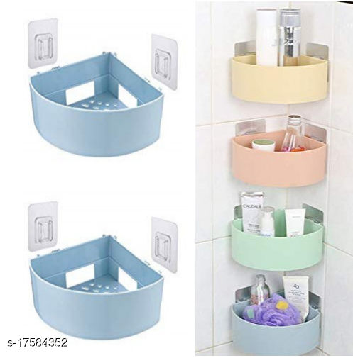 The Flying Kart Pack fo 4 Multipurpose Wall Shelves Bath Shelves with Magic Sticker ( No Drilling ) Multicolor