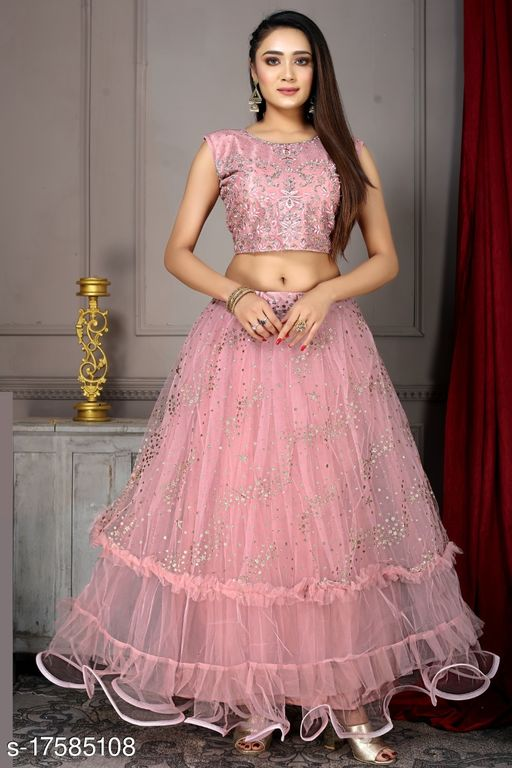Gorgeous And Designer Look With Handwork And Sequence Work In Choli With Zari Work Stitched Lehenga Choli And Dupatta L Size