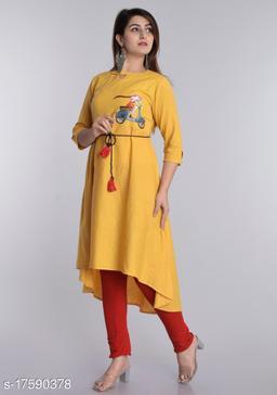 Women Cotton Assymetrical Printed Yellow Kurti