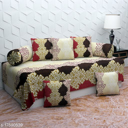 JSC Glace Cotton Diwan Set Covers 8 Pcs Set of 1 Bedsheet 2 Bolsters and 5 Cushion Covers