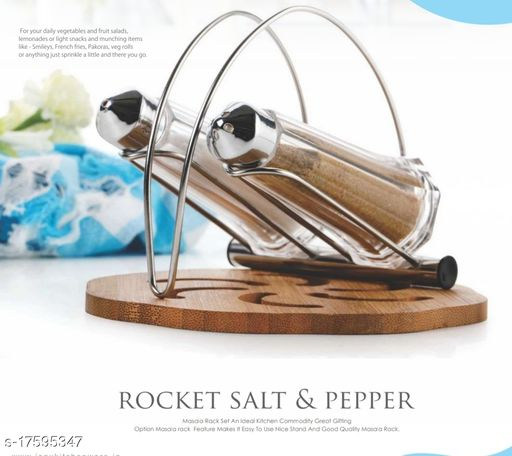 AMAR IMPEX ROCKET SALT AND PEPPER MASALA RACK SET AN IDLE KITCHEN COMMODITY GREAT GIFTING OPTION MASALA RACK FEATURES MAKES IT EASY TO USE NICE STAND AND GOOD QUALITY MASALA RACK