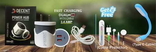 Fast Charger with data cable with combo of Cable Protector and Led USB Light. Oppo charger realme charger samsung charger vivo charger