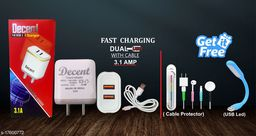 Fast Charger with data cable with combo of Cable Protector and Led USB Light.