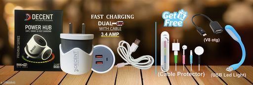 Fast Charger with data cable with combo of Cable Protector ,Type C otg and Type C Cable. Oppo charger realme charger samsung charger vivo charger