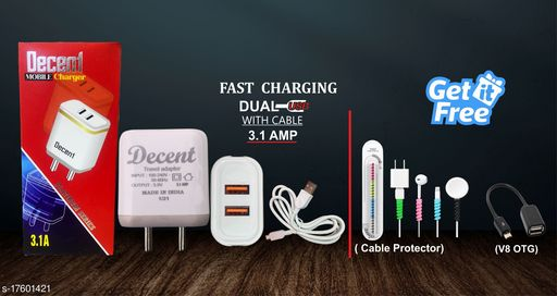 Fast Charger with data cable with combo of Cable Protector and V8 OTG. Oppo charger realme charger samsung charger vivo charger
