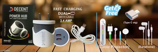 Fast Charger with data cable with combo of Cable Protector ,Type C otg and Earphone. Oppo charger realme charger samsung charger vivo charger