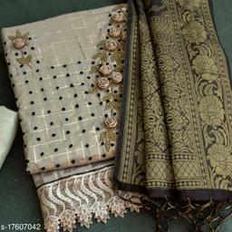 Silver Floral Handwork Embriodered Dress Material With Banarasi Dupatta