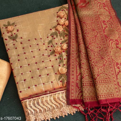 Orange Floral Handwork Embriodered Dress Material With Banarasi Dupatta
