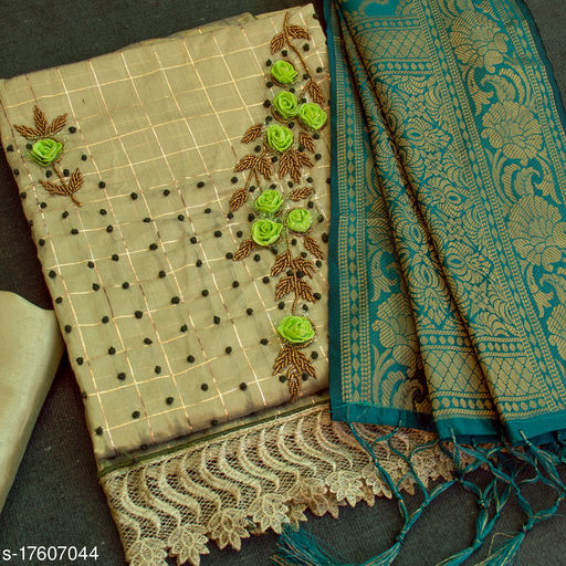 Green Floral Handwork Embriodered Dress Material With Banarasi Dupatta