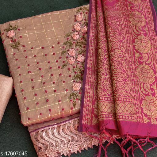 Pink Floral Handwork Embriodered Dress Material With Banarasi Dupatta