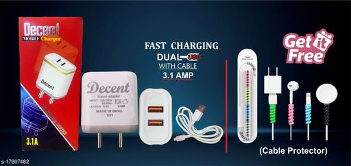 Fast Charger with data cable with combo of Cable Protector. Oppo charger realme charger samsung charger vivo charger