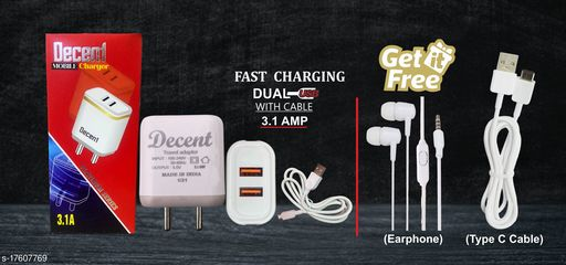 Fast Charger with data cable with combo of Earphone & Type C Data Cable. Oppo charger realme charger samsung charger vivo charger