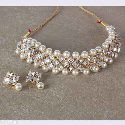Pearl Kundan Designer Chokar Necklace Set with Earings for Women and Girls