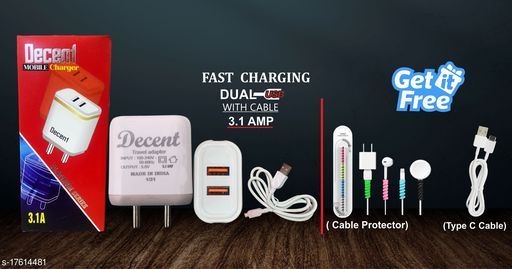 Fast Charger with data cable with combo of Cable Protector and Type C Data Cable. Oppo charger realme charger samsung charger vivo charger