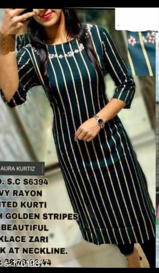 Women Rayon Straight Stripe Kurti