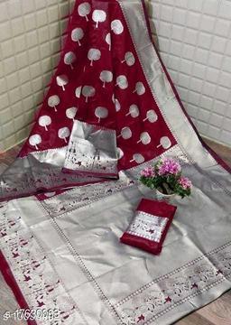 Suneri Gorgeous Woven Banarasi Silk Saree With Blouse