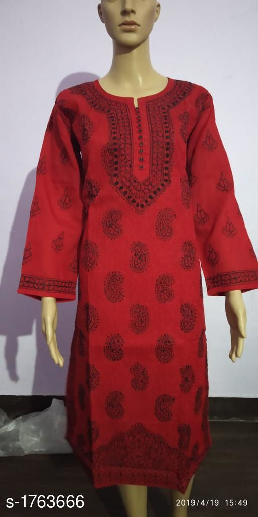 Kurtis & Kurtas Gorgeous Contemporary Vintage Cotton Kurti  *Fabric* Cotton  *Sleeves* Sleeves Are Included  *Size* M - 38 in, L - 40 in, XL - 42 in, XXL - 44 in  *Length* Up To 45 in  *Type* Stitched  *Description* It Has 1 Piece Of Women's Kurti  *Work* Embroidery  *Sizes Available* M, L, XXL   SKU: GCVCK_8 Free shipping is available for this item. Pkt. Weight Range: 200  Catalog Name: Alisha Gorgeous Contemporary Vintage Cotton Kurtis - Les fils Code: 0711-1763666--