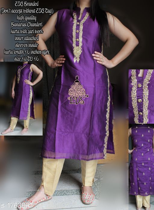Kurtis & Kurtas Women's Embroidered Chanderi Silk Kurti  *Fabric* Kurti - Banarasi Chanderi SIlk    *Sleeves* Sleeves Are Attached Inside    *Size* M - 40 in, L - 42 in, XL - 44 in, XXL- 46 in  *Length* Kurti - Up To 46 in    *Type* Stitched    *Description* It Has 1 Piece Of Women's Kurti    *Work * Kurti - Zari work  *Sizes Available* M, L, XL, XXL *    Catalog Name: Women's Embroidered Chanderi Silk Kurtis CatalogID_231390 C74-SC1001 Code: 228-1763961-