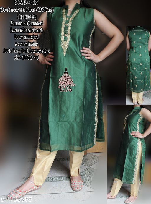 Kurtis & Kurtas Women's Embroidered Chanderi Silk Kurti  *Fabric* Kurti - Banarasi Chanderi SIlk    *Sleeves* Sleeves Are Attached Inside    *Size* M - 40 in, L - 42 in, XL - 44 in, XXL- 46 in  *Length* Kurti - Up To 46 in    *Type* Stitched    *Description* It Has 1 Piece Of Women's Kurti    *Work * Kurti - Zari work  *Sizes Available* M, L, XL, XXL *    Catalog Name: Women's Embroidered Chanderi Silk Kurtis CatalogID_231390 C74-SC1001 Code: 228-1763966-