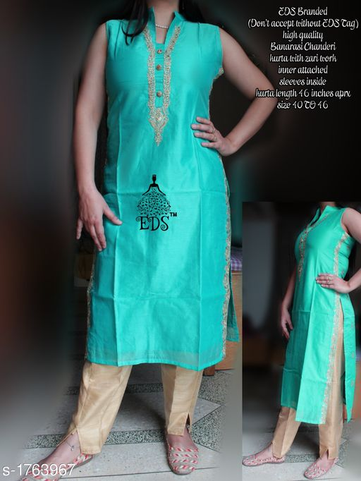 Kurtis & Kurtas Women's Embroidered Chanderi Silk Kurti  *Fabric* Kurti - Banarasi Chanderi SIlk    *Sleeves* Sleeves Are Attached Inside    *Size* M - 40 in, L - 42 in, XL - 44 in, XXL- 46 in  *Length* Kurti - Up To 46 in    *Type* Stitched    *Description* It Has 1 Piece Of Women's Kurti    *Work * Kurti - Zari work  *Sizes Available* M, L, XL, XXL *    Catalog Name: Women's Embroidered Chanderi Silk Kurtis CatalogID_231390 C74-SC1001 Code: 228-1763967-