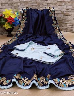 Dola Silk Saree Zari With Embroidery Work