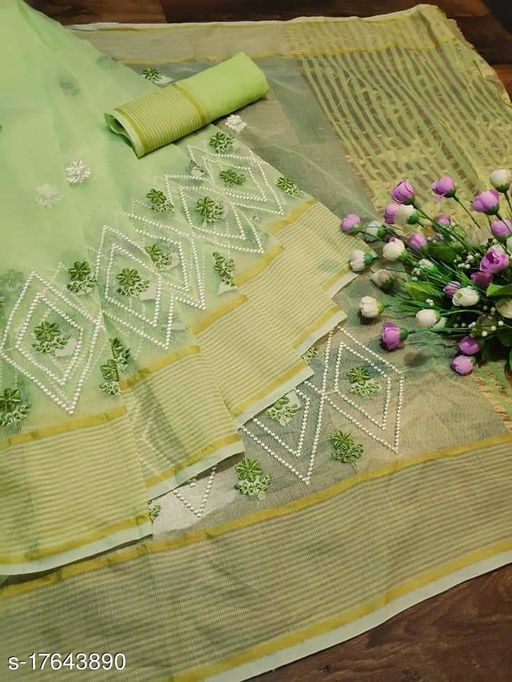 Fancy Pollycotton Embrodery Saree