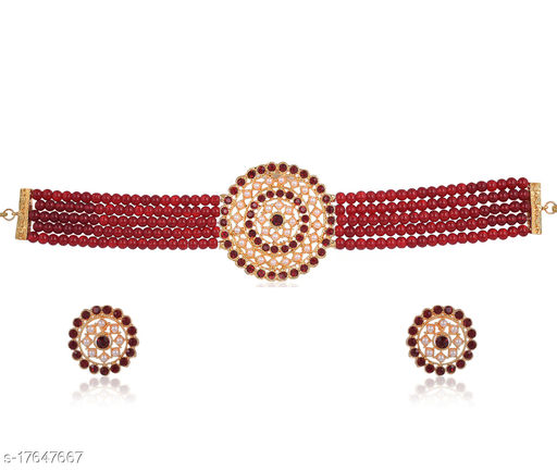 Golden Grace Fashion Jewellery Indian Bollywood Traditional Faux Pearl Ruby Red Grand Designer Wedding Jewellery Choker Necklace Set in Gold Tone for Women