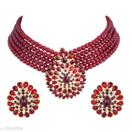 Golden Grace Fashion Jewellery Indian Bollywood Traditional Faux Ruby Red Grand Designer Wedding Jewellery Choker Necklace Set in Gold Tone for Women