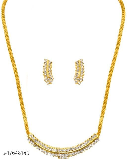 Golden Grace Fashion Jewellery Gold Plated Modern & Attractive Necklace Set  Women And Girls